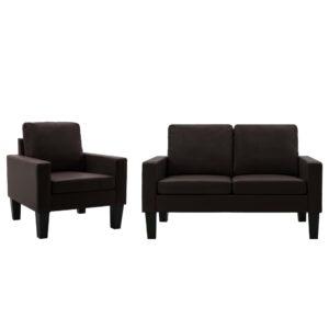 2 pcs conjunto de sofás couro artificial castanho - PORTES GRÁTIS