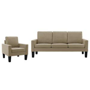 2 pcs conjunto de sofás couro artificial cappuccino - PORTES GRÁTIS