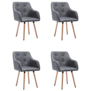 Cadeiras de jantar 4 pcs tecido cinzento-escuro - PORTES GRÁTIS