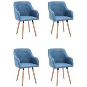 Cadeiras de jantar 4 pcs tecido azul - PORTES GRÁTIS