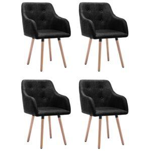 Cadeiras de jantar 4 pcs tecido preto - PORTES GRÁTIS