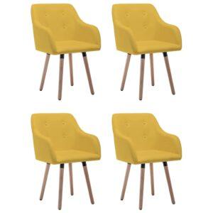 Cadeiras de jantar 4 pcs tecido amarelo mostarda - PORTES GRÁTIS