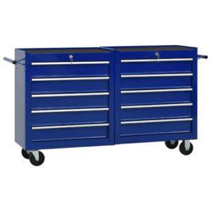 Carrinho de ferramentas com 10 gavetas aço azul - PORTES GRÁTIS