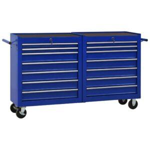 Carrinho de ferramentas com 14 gavetas aço azul - PORTES GRÁTIS