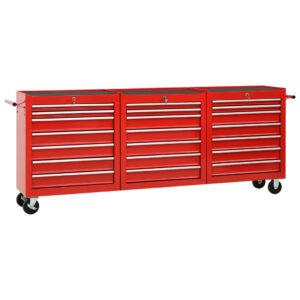 Carrinho de ferramentas com 21 gavetas aço vermelho - PORTES GRÁTIS