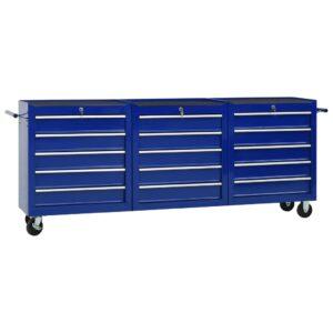 Carrinho de ferramentas com 15 gavetas aço azul - PORTES GRÁTIS