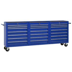 Carrinho de ferramentas com 21 gavetas aço azul - PORTES GRÁTIS