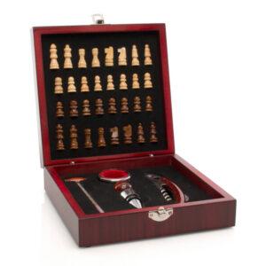 Conjunto de 5 Acessórios para Vinho e Xadrez  Castanho