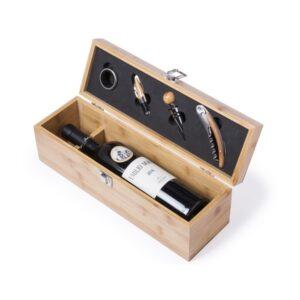 Conjunto para Degustação de Vinho Premium 4 Peças Bambu Natural