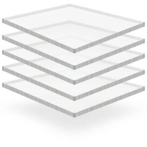 Placa de vidro acrílico transparente 5 pcs 40x60 cm 15 mm - PORTES GRÁTIS
