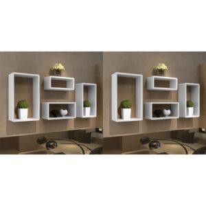 Prateleiras de parede em forma de cubo 8 pcs branco - PORTES GRÁTIS