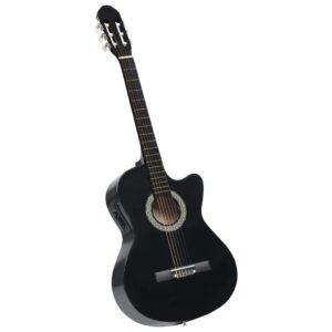 Guitarra acústica cutaway com equalizador e 6 cordas preto - PORTES GRÁTIS