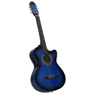 Guitarra acústica cutaway com equalizador e 6 cordas azul    - PORTES GRÁTIS