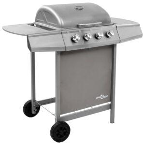 Grelhador/barbecue a gás 4 discos prateado - PORTES GRÁTIS