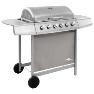 Grelhador/barbecue a gás 6 discos prateado - PORTES GRÁTIS