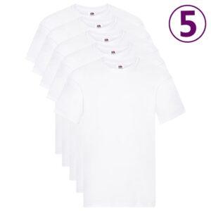 Fruit of the Loom T-shirts originais 5 pcs algodão M branco  - PORTES GRÁTIS