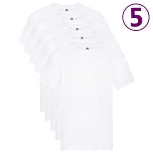 Fruit of the Loom T-shirts originais 5 pcs algodão XL branco  - PORTES GRÁTIS