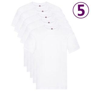 Fruit of the Loom T-shirts originais 5 pcs algodão XXL branco  - PORTES GRÁTIS