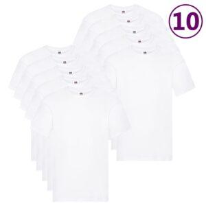 Fruit of the Loom T-shirts originais 10 pcs algodão S branco  - PORTES GRÁTIS