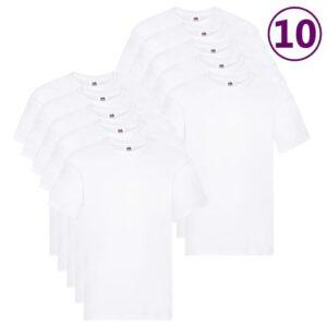 Fruit of the Loom T-shirts originais 10 pcs algodão XXL branco  - PORTES GRÁTIS