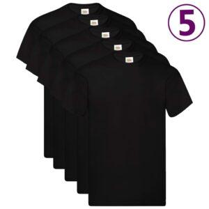 Fruit of the Loom T-shirts originais 5 pcs algodão XL preto - PORTES GRÁTIS