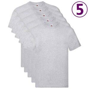 Fruit of the Loom T-shirts originais 5 pcs algodão 3XL cinzento - PORTES GRÁTIS