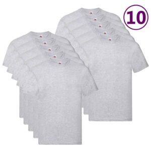Fruit of the Loom T-shirts originais 10 pcs algodão XXL cinzento - PORTES GRÁTIS