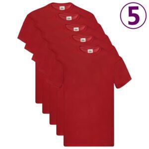 Fruit of the Loom T-shirts originais 5 pcs algodão XXL vermelho - PORTES GRÁTIS