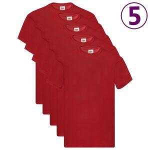 Fruit of the Loom T-shirts originais 5 pcs algodão 3XL vermelho - PORTES GRÁTIS