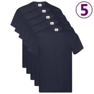 Fruit of the Loom T-shirts originais 5 pcs algodão 3XL azul-escuro - PORTES GRÁTIS