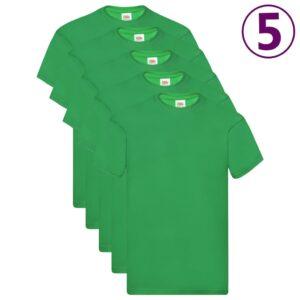 Fruit of the Loom T-shirts originais 5 pcs algodão 3XL verde - PORTES GRÁTIS