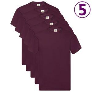 Fruit of the Loom T-shirts originais 5 pcs algodão 3XL bordô - PORTES GRÁTIS