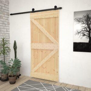 Porta de correr com ferragens 90x210 cm madeira de pinho maciça - PORTES GRÁTIS
