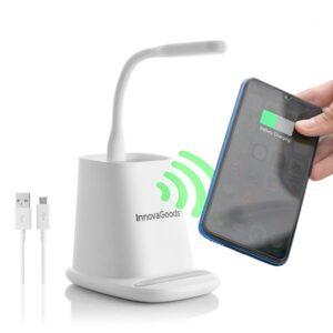Carregador sem fios com Suporte-Organizador e Candeeiro LED USB 5 em 1 DesKing - VEJA O VIDEO