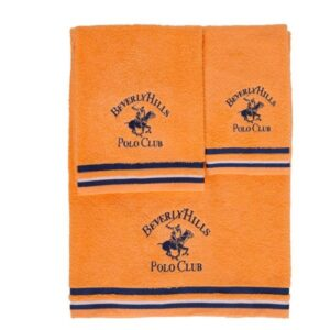 Jogo de 3 toalhas Beverly Hills Polo Club Malibú Laranja