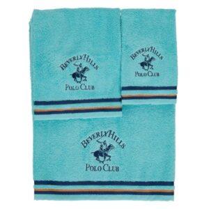 Jogo de 3 toalhas Beverly Hills Polo Club Malibú Turquesa