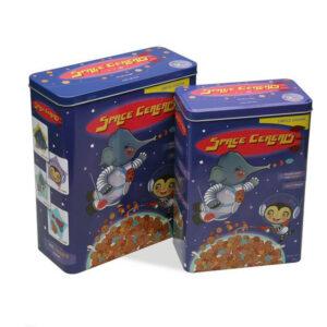 2 Caixas Space Cereals Metal Vintage (10,5 x 26,5 x 23,4 cm)
