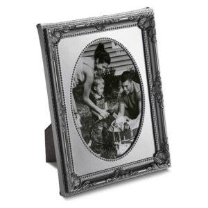 Porta-retratos Plástico Vintage Prateado Oval 13 x 18 cm