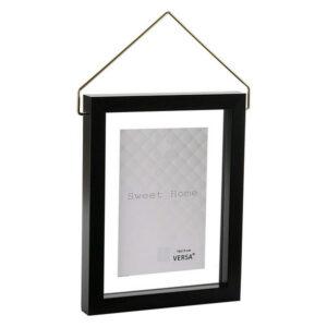Porta-retratos Diamond Plástico Preto 13 x 18 cm