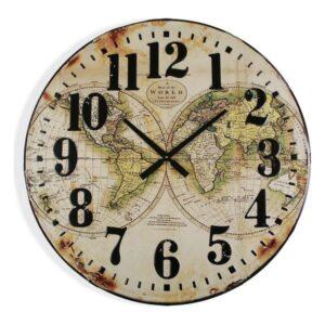 Relógio de Parede Map World Madeira MDF (80 x 6 x 80 cm)