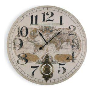 Relógio de Parede Map World Madeira MDF (58,2 x 4,3 x 58,2 cm)
