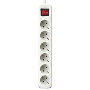 Extensão com 6 Tomadas com Interruptor Silver Electronics Branco 3 m