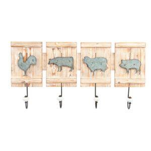 Bengaleiro de parede Dekodonia animais Madeira Metal (68 x 33 x 8 cm)
