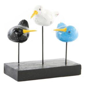 Figura Decorativa Dekodonia Madeira Metal Pássaros