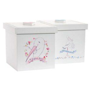 Caixa Decorativa Infantil Branco Madeira (11 x 11 x 11 cm)