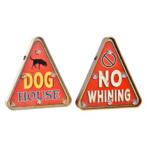 2 PLACAS Luminária Dekodonia Dog House / No Whining (30 x 5 x 32 cm)
