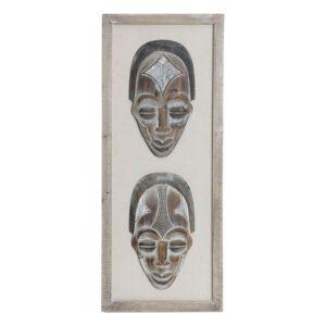 Decoração de Parede Dekodonia Madeira Com tecido Colonial Máscara