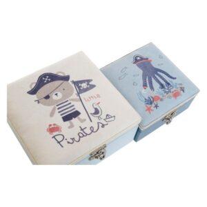 Caixa Decorativa Infantil (2 pcs) Poliéster Madeira