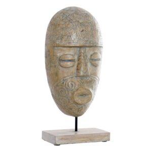 Figura Decorativa Dekodonia Metal Bambu Máscara (20 x 10 x 44 cm)