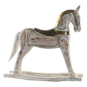 Figura Decorativa Dekodonia Cavalo Latão Madeira de mangueira (61 x 10 x 58 cm)